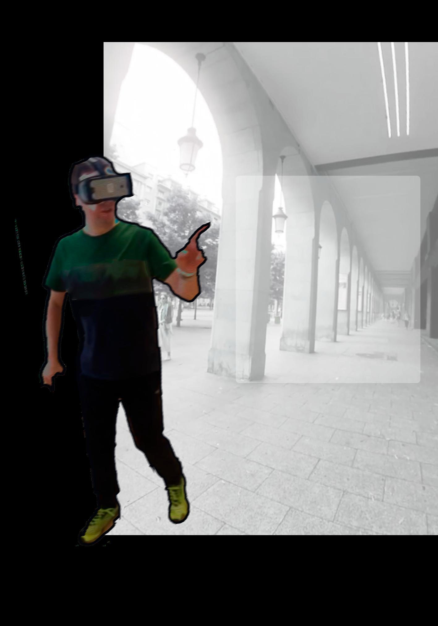 Usuario usando dispositivo de realidad virtual.