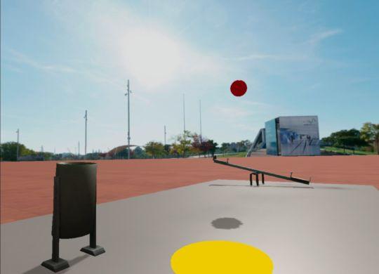 Escena parque con pelotas rebotando.